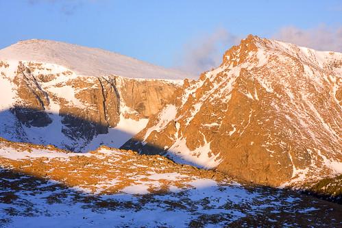 morning blue orange snow mountains sunrise spring colorado unitedstates evergreen rockymountains tundra mountevanswilderness