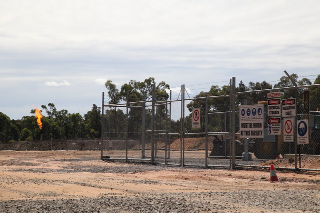 Fracking flare in Pilliga Forest. (photo via flickr courtesy of lockthegate)