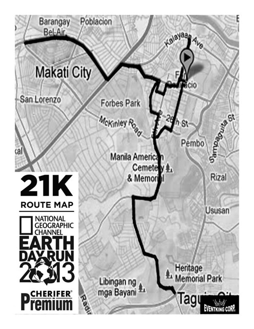 the running enthusiast  natgeo earth day run 2013 21K route map