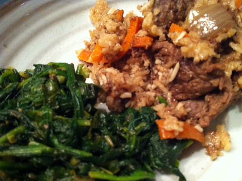lamb, rice, spinach