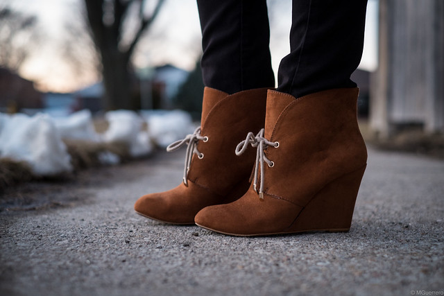 zara brown wedge booties