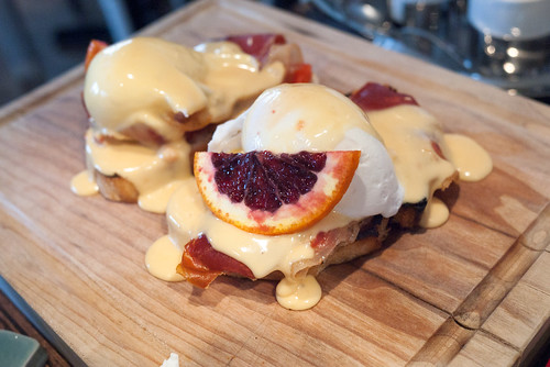Eggs Benedict with Blood Orange Hollandaise @ Ox & Angela