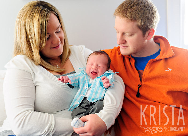 family portrait with newborn baby boy