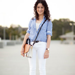 Thumbnail image for Striped Linen & Hemmed Skinny Jeans