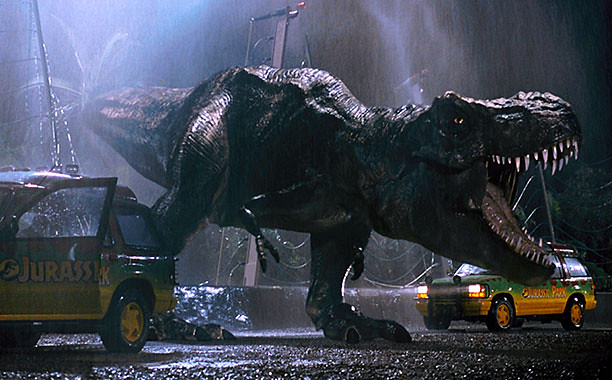 T-rex gets the excitement going in JURASSIC PARK