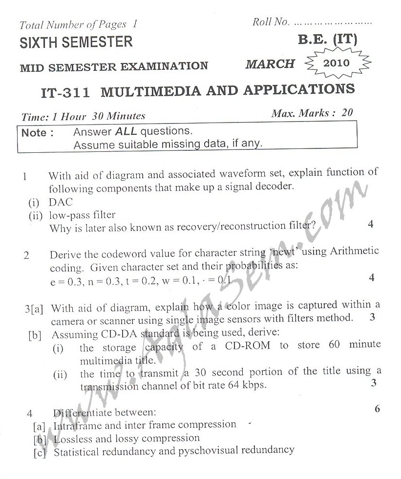 DTU Question Papers 2010 – 6 Semester - Mid Sem - IT-311