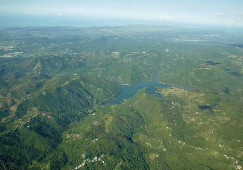 The Guánica Bay/Rio Loco watershed as seen from the air. Photo credit Edwin Mas.