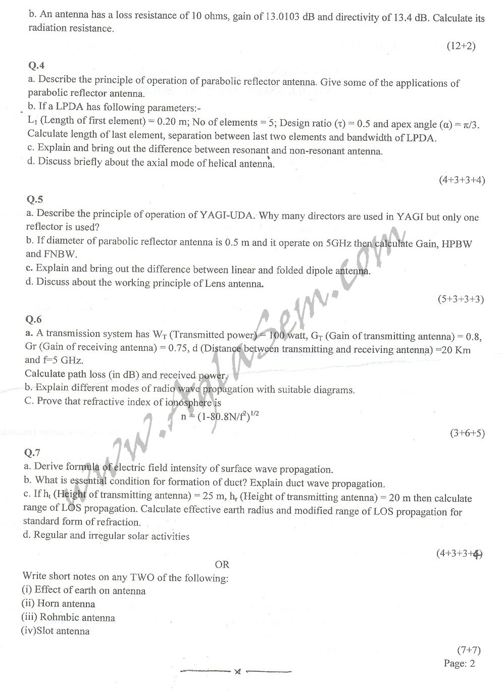 DTU Question Papers 2010 – 6 Semester - End Sem - EC-313