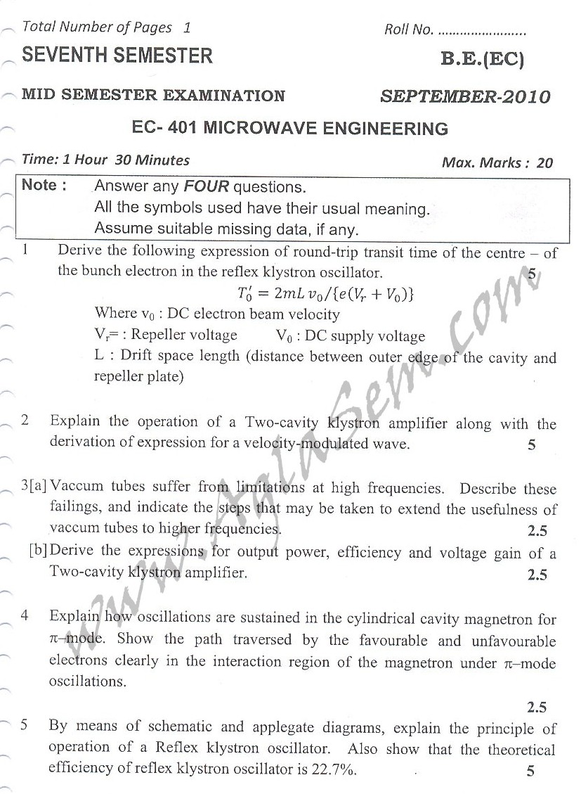 DTU Question Papers 2010 – 7 Semester - Mid Sem -  EC-401