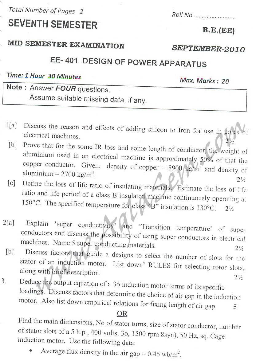 DTU Question Papers 2010 – 7 Semester - Mid Sem -   EE-401