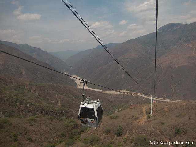 Taking the 6.3 km teleferico across the Chicamocha valley to