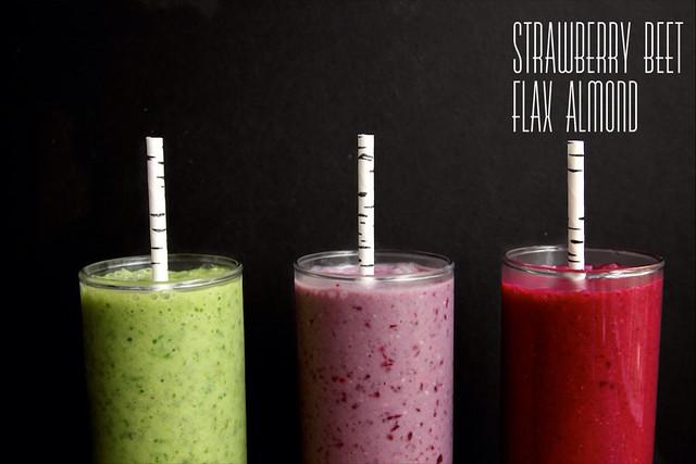 strawberry beet flax almond smoothie