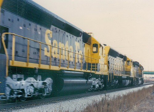 Eastbound Atchison, Topeka & Santa Fe freight train.  Mc Cook Illinois.  November 1989. by Eddie from Chicago