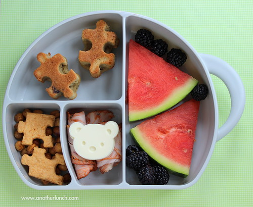 Boon Trunk Snack Box - preschool lunch with watermelon and puzzle muffins