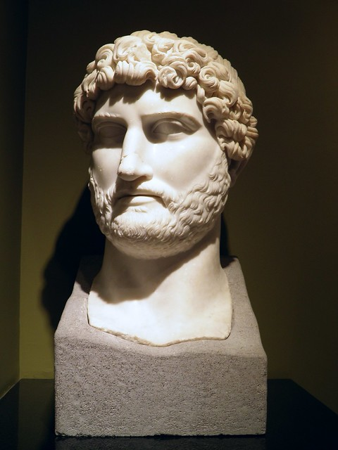 Marble head from a colossal acrolithic statue of Hadrian found at Sagalassos in 2007 within the large eastern hall of the monumental bath complex, Burdur Museum
