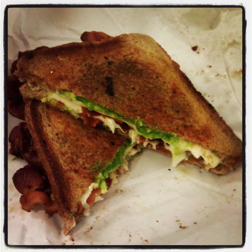 Grilled cheese with bacon and avocado from Mulligans on Canal Street