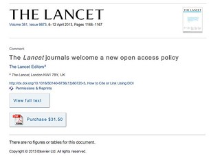 """@TheLancet journals welcome a new open access policy"" to find out more ""Purchase this article for $31.50"""