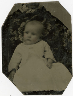 A Baby with an Almost Hidden Mother - Small Tintype