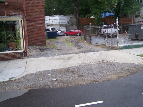Dirt alley on the 6200 block of 3rd Street NW with serious run off problems