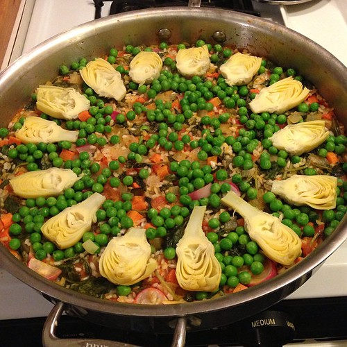 Almost done! #paella #itswhatsfordinner #yayvegetables