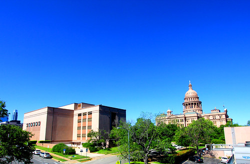 TSLAC and the Texas State Capitol Under Blue Sky