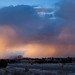 snow falling over jemez mtns at sunset.