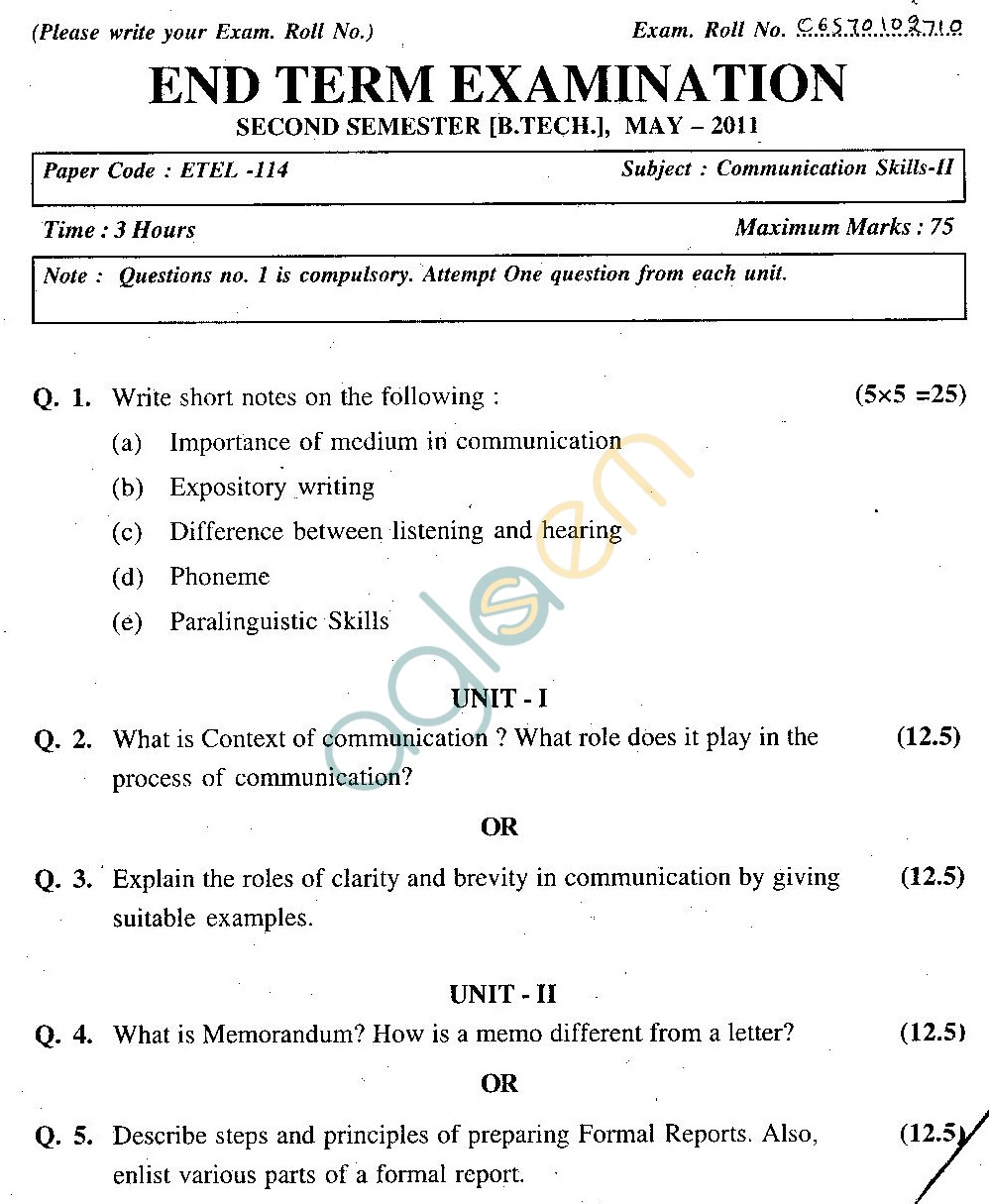 GGSIPU Question Papers Second Semester – End Term 2011 – ETEL- 114