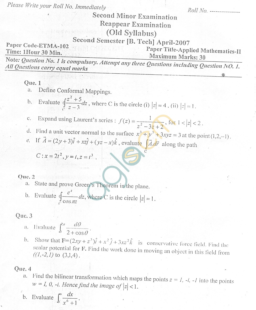GGSIPU Question Papers Second Semester – Second Term 2007 – ETMA-112