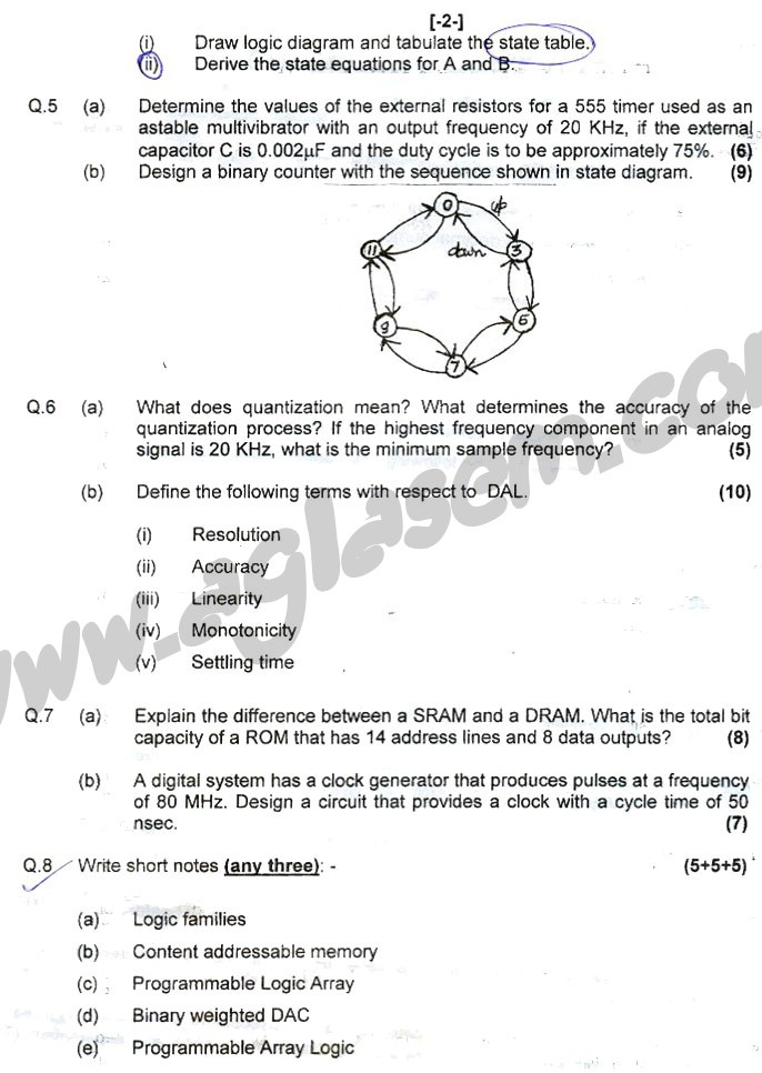 GGSIPU Question Papers Fourth Semester – end Term 2007 – ETEC_206