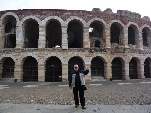 Andre in front of the arena