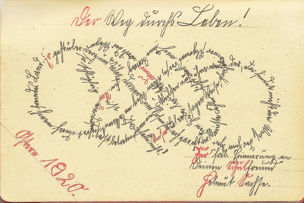 Poesiealbum Schrift Sütterlin Kurrent Ornament Schriftknoten Schönschrift Kalligraphie