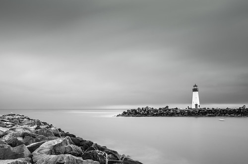 d7000 2470f28 bayarea california longexposure water nd110 ndfilter bw 77mm30nd110 waltonlighthouse lighthouse santacruz pacificocean pacific cloudy sunrise monochrome harbor blackandwhite day flickr10 black
