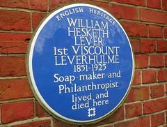 Photo of William Hesketh Lever blue plaque