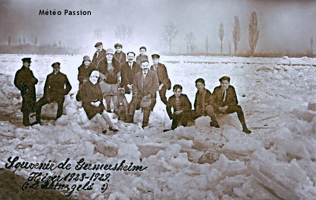 Rhin entièrement gelé en Allemagne lors de la vague de froid de février 1929 météopassion