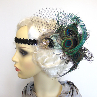Peacock feather flapper headband.