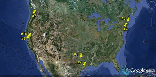 where 7 of the top 10 are in relation to the continental US (via Google Earth)