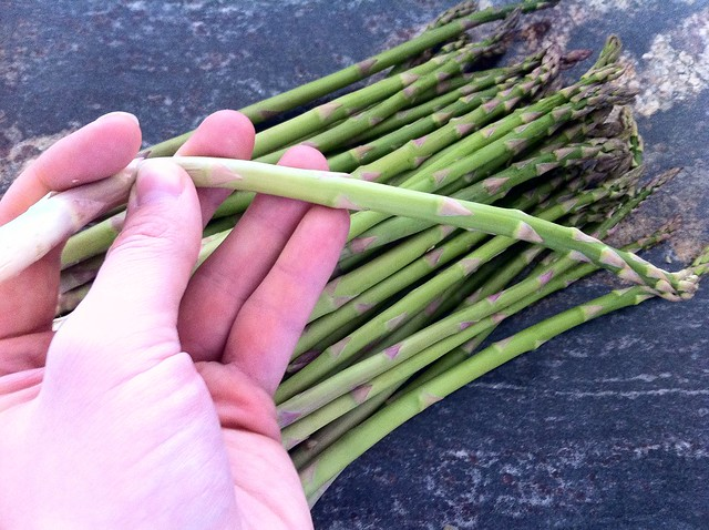 Snapping Off Ends of Asparagus