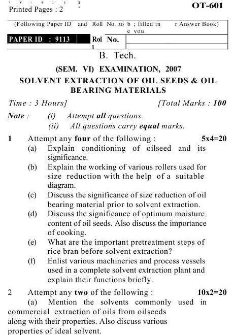 UPTU B.Tech Question Papers -OT-601- Solvent Extraction of Oil Seeds & Oil Bearing Materials