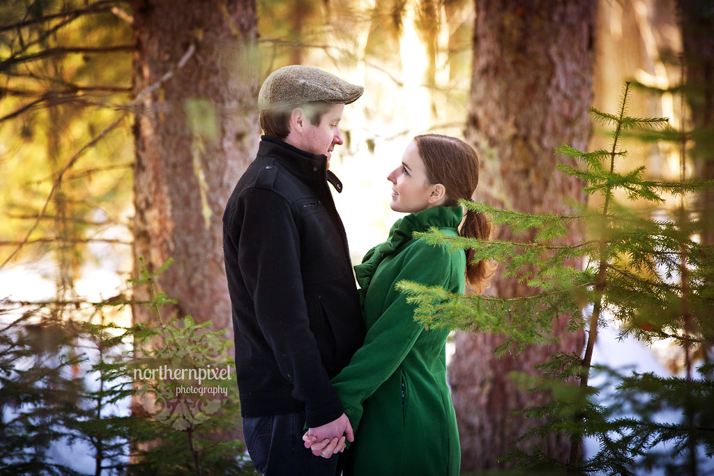 Winter Forest Engagement Session Prince George BC
