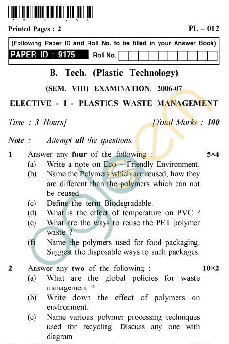 UPTU B.Tech Question Papers - PL-012 - Elective-I-Plastics Waste Management