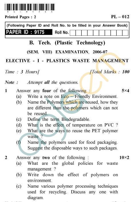 UPTU B.Tech Question Papers -PL-012 - Elective-I-Plastics Waste Management