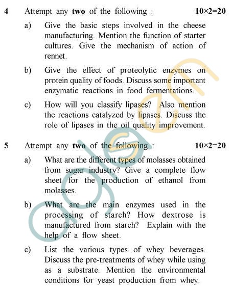 UPTU B.Tech Question Papers - BE-804 - Food Biotechnology