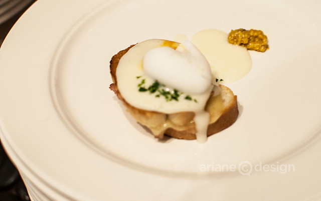 Flavours of the Festival/forage house-cured Gelderman's pork and golden ears, Rabbit River Farm quail egg, béchamel sauce