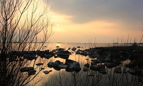 ireland sunset galway water rock loughcorrib