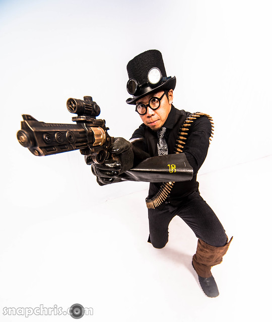 Asian Steampunk assasin aims his gun