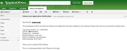 SSS Salary Loan email noitification.