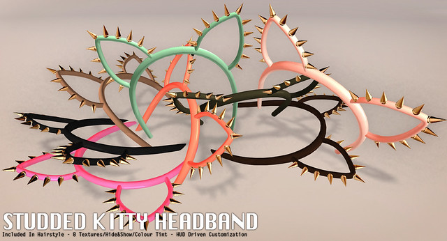 Studded Kitty Headband For Rigged Mesh Hairstyle Mia