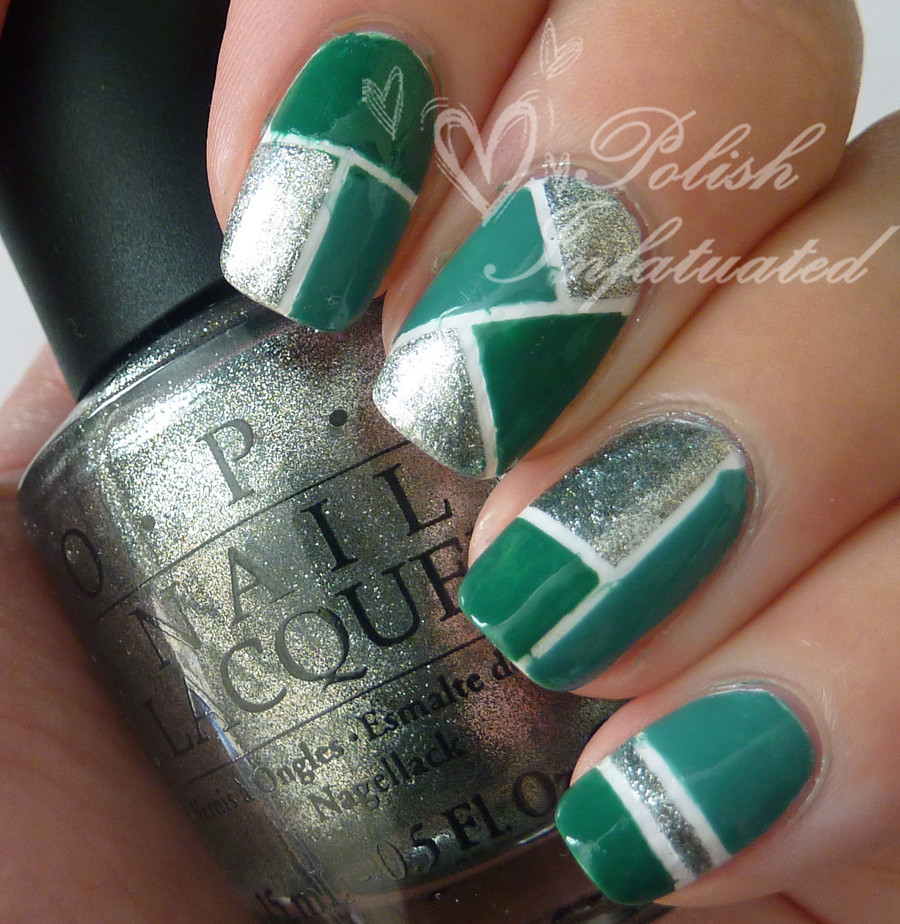 green and silver colour block