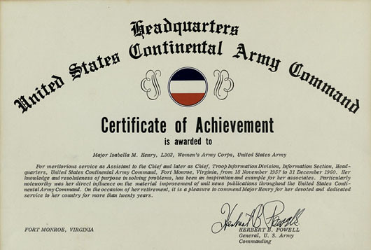Certificate of Achievement from the US Continental Army Co ...