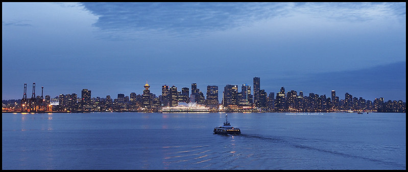 Vancouver Skyline from Lonsdale Quay at Blue Hour